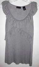 NEW YORK & CO. Shirt X-SMALL Grey Sleeveless Top w/Ruffles Women Junior - $11.57