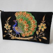 Zari Embroidery Peacock Purse Metallic Thread Black Velvet Clutch India ... - $59.39