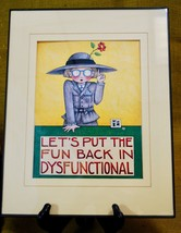 Mary Engelbreit Framed Wall Hanging Art Print LET'S PUT THE FUN IN DYSFU... - $49.01