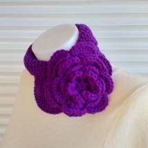 Knit purple rose scarf, keyhole hand knit scarf women, spring neck women... - $35.00