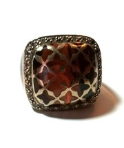 STERLING SILVER ACRYLIC LUCITE LARGE CRYSTAL DESIGNER SIGNED RING - $90.00