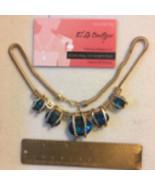 Gold Tone With Aqua Rhinestones Statement Necklace - $10.99