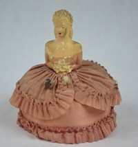 Vintage 5.5 Inch Victorian Maiden Half Doll Porcelain with Rose Pin Cushion - $174.19