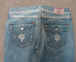 TRUE RELIGION Jeans Joey Twisted Flare Distressed Back Flap Frayed 28/32 - $62.99
