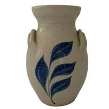 "Williamsburg Pottery Vase Virginia Salt Glaze 6"" Blue Fern Frond Handmad... - $16.99"