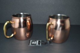 2x HAMMERED ~ MOSCOW MULE ~  COPPER PLATED  MUG WITH DIFFERENT BRASS HAN... - $24.18
