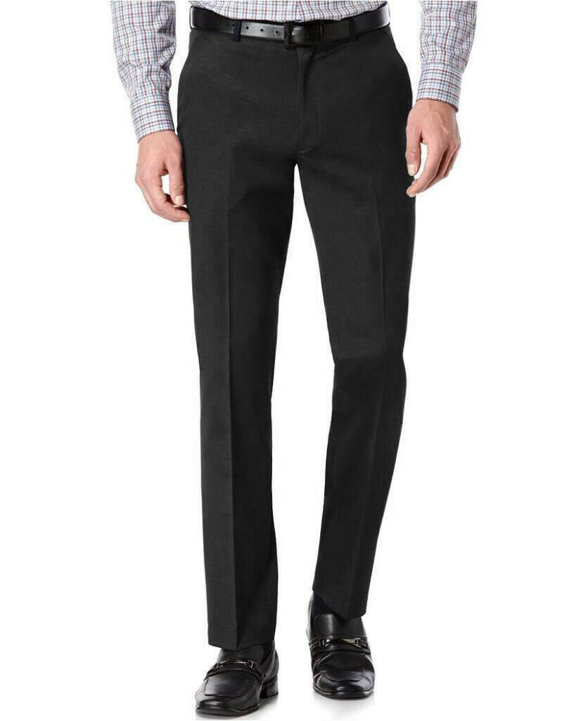 TM Exposure Men's Black Slim Fit Dress Pants Slacks Flat Front w/ Defect 38x30