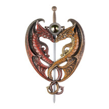 Home Plaque, Dueling Dragons Sword Asian Contemporary Personalized Door ... - €41,81 EUR