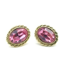 1928 Jewelry Brand Goldtone Rope Border Pink Faceted Oval Rhinestone Earrings - $14.54