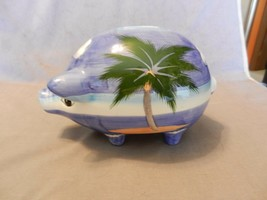 Ceramic Tropical Island Pig Piggy Bank, Multicolor Island Palm Tree - $44.54