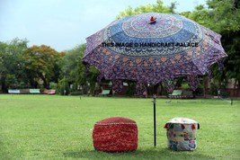 Indian Mandala Beach Garden Umbrella Cotton Large Patio Sun Shade Paraso... - $139.13 CAD
