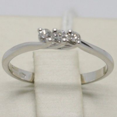 WHITE GOLD RING 750 18K, TRILOGY WITH DIAMONDS CARAT 0.12, MADE IN ITALY