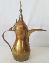 Vintage Arabic Dallah Coffee Tea Pot Ewer Turkish Brass Etched Pitcher  - $59.39