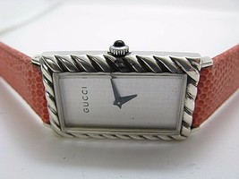 RARE VINTAGE GUCCI WATCH MADE IN FRANCE STERLING SILVER CASE HAND WIND 9.25 - $558.09
