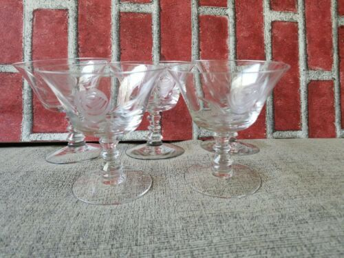 "Primary image for Vintage Fostoria 4.25"" Etched Rose Flower Glass Sherbet set of 5 used"