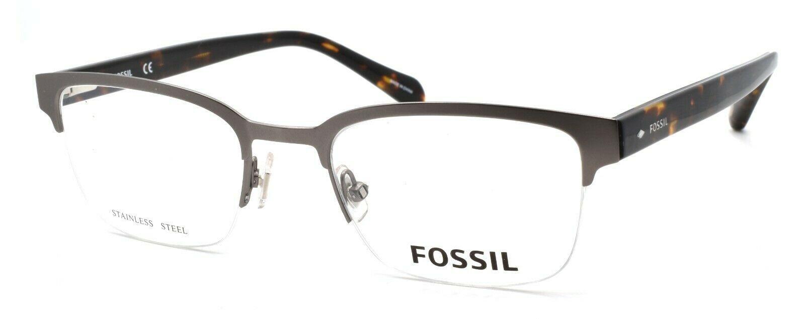 Fossil FOS 7005 KJ1 Men's Eyeglasses Frames Half-rim 50-20-150 Dark Ruthenium - $79.00