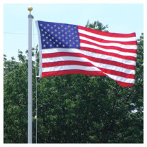 18 FT STEEL FLAGPOLE W/ (1) 3'x5' U.S.FLAG PLUS (3) U.S. ANTENNA FLAGS  ... - $235.00