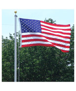 18 FT STEEL FLAGPOLE W/ (1) 3'x5' U.S.FLAG PLUS (3) U.S. ANTENNA FLAGS  ... - $235.00