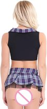 dPois Womens School Girl Cosplay Fancy Dress Costume Crop Top with Plaid Mini Sk image 3