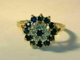 2 CT Round Cut Blue Sapphire & Diamond Cluster Wedding Ring 14k Yellow G... - $89.99