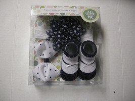 Little Me Headwrap, Booties, & Clippie Set, Black & White, 0-12 Months, New - $9.95