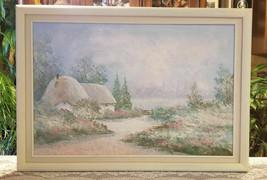 """Floral Cottage Landscape Signed Oil on Canvas White Wood Frame 41"""" x 29"""" - $138.39"""