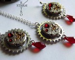Vintage watch movement Blood red  Swarovski Steampunk necklace and Earrings - St