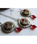 Vintage watch movement Blood red  Swarovski Steampunk necklace and Earrings - St - £35.27 GBP