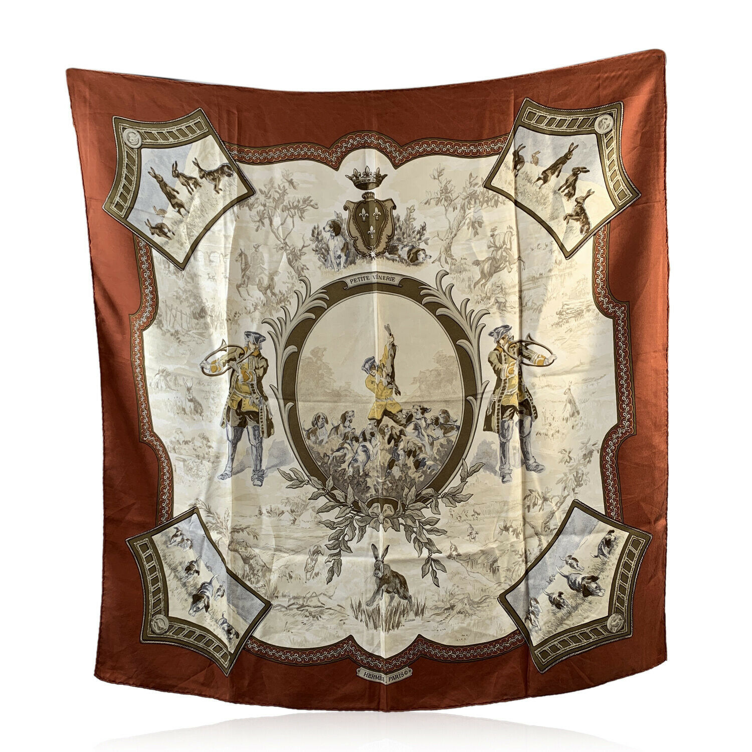 Primary image for Authentic Hermes Vintage Silk Scarf Petite Venerie 1968 Charles Jean Hallo Brown