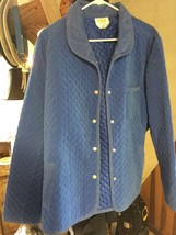 Talbots Blazer Quilted Women's Blue XL Stretch Blazer Xl Blue Quilted - $32.52