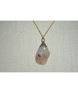 Emmons Signed Beige Brown Agate Stone Pendant Gold Tone Chain Necklace V... - $24.74
