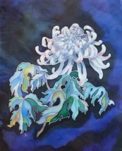 CHRYSANTHEMUM: Original fabric painting by Akimova, flower, garden, blue - $25.00