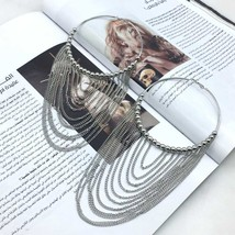 MANILAI Fashion Circular Metal Long Tassel Earrings For Women Indian  Je... - $19.59