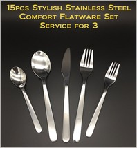 15pcs - New Modern, Stylish & Classic Stainless Steel Flatware Set for 3 - $24.81