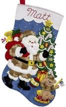 Bucilla Camo Santa Military Soldier Patriotic Christmas Felt Stocking Kit 86980E - $39.95