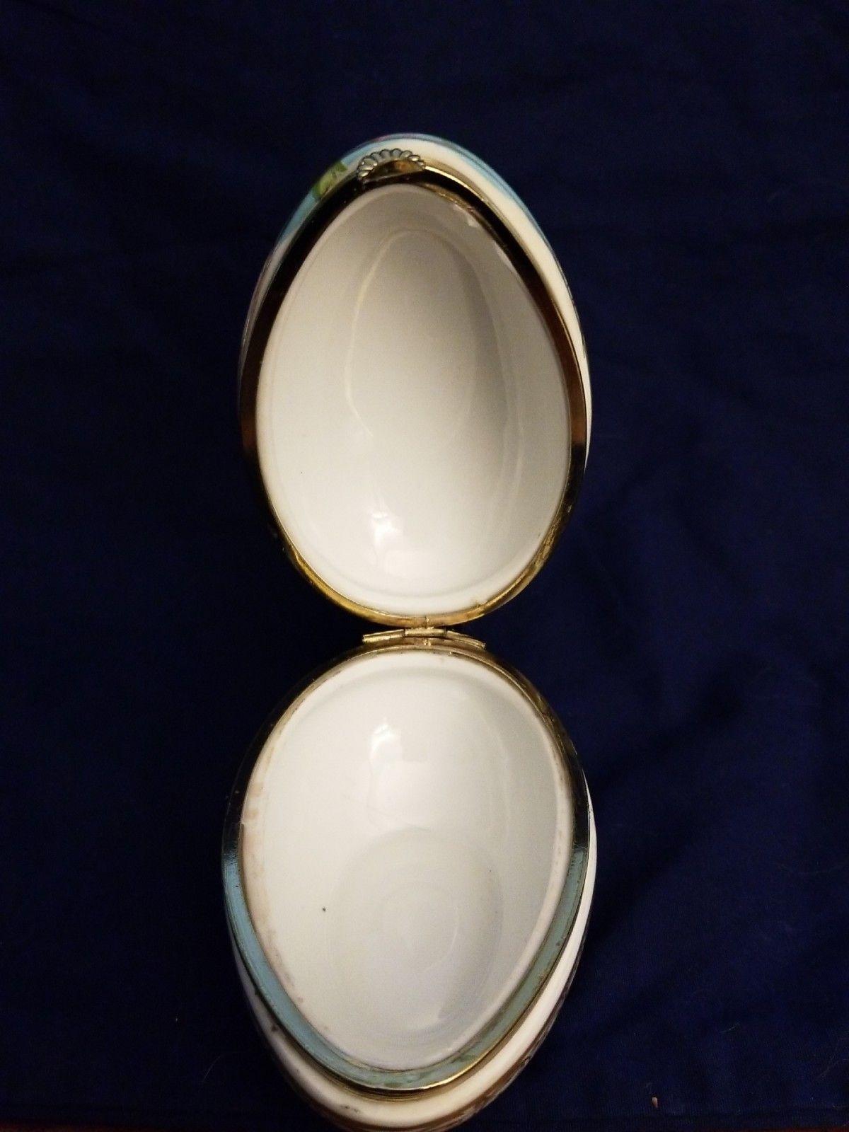 Lefton Decorated Porcelain Egg Jewelry Trinket Box XA-8068 - $5.94
