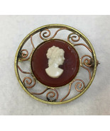 Brooch Pin Cameo Womans Profile Roman Lady Bust Brass Metal White Red Vi... - $12.86