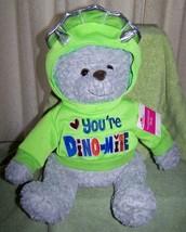 """Gray Teddy Bear in Dinosaur Sweatshirt 16"""" Plush NWT - $16.88"""