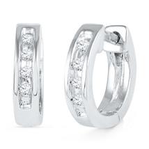 10k White Gold Womens Round Diamond Single Row Huggie Earrings 1/20 Cttw - $125.00