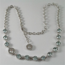 WHITE GOLD PLATED BRONZE REBECCA TENNIS NECKLACE BPBKBL54 MADE IN ITALY 15.75 IN image 1