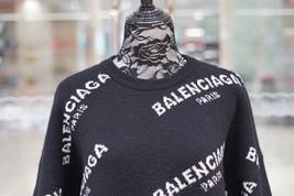 100% AUTHENTIC JACQUERED KNIT BALENCIAGA PARIS BLACK LOGO SWEATER SZ 40 image 5