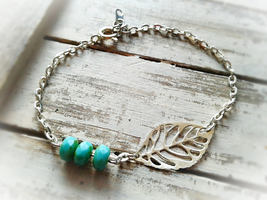 Tiny Silver Skeleton Leaf Anklet Tiny Turquoise Beads Ankle Bracelet Nat... - $28.50