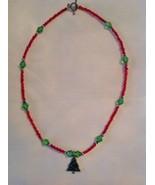 Handmade Beaded Artisan Christmas Tree Necklace Fashion Jewelry Red & Gr... - $19.30