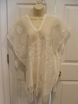 new/pkg WHITE CORAL DESIGN swimsuit Cover up PONCHO  One Size Fits All - $24.74