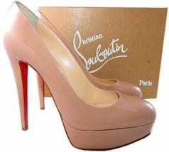 Christian Louboutin Platform Pumps Shoes Bianka Nude Beige Patent Leather 40 - 9 - $529.99