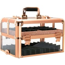 Rose Gold Nail Polish Manicure Organizer Storage Makeup Train Case Box T... - $143.54