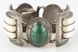 "Vtg Mexican Silver Green/White (Jade/Quartz) Gemstone Cuff Bracelet 7"" 1... - $267.30"