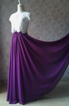 Aline Chiffon Maxi Skirt High Waisted Wedding Chiffon Skirt Purple Green Pink image 12