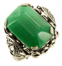 Vintage Silver Tone & Rectangle Green Glass Cab Adjustable Ring Size 6.5-8 - $60.74
