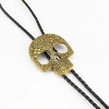 Flower Skull Head Mens Bola BOLO Tie Necklace Wedding - Vintage Western ... - $14.90